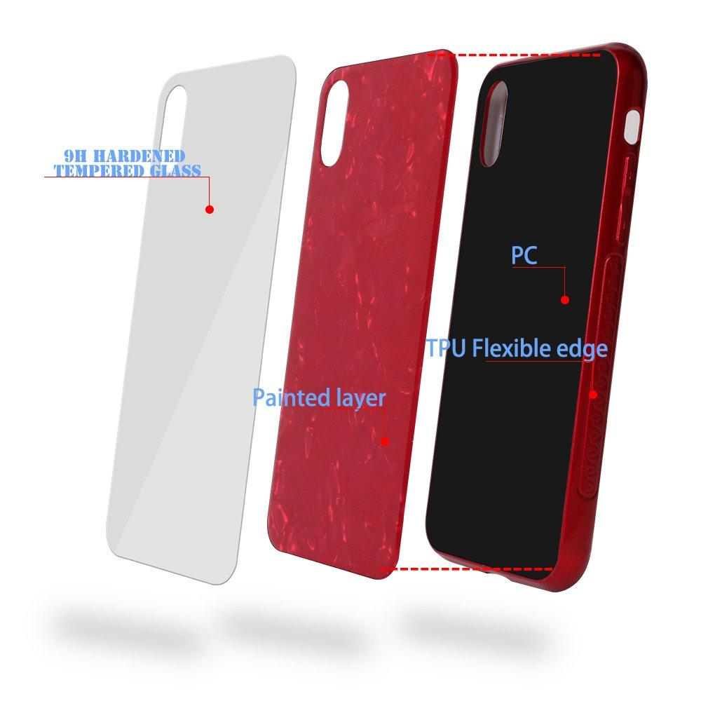 Shell Pattern Tempered Glass Back Cover IPhone X Case PC0009