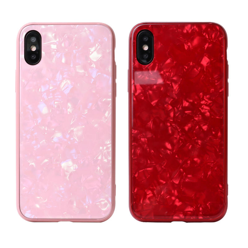 Seashell Pattern Design Tempered Glass Phone Case For IPhone X Case PC0009
