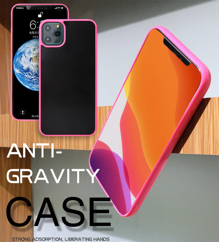 Pink Color Nano Suction Antigravity mobile phone case for iphone 11 pro max